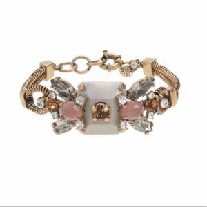J. Crew Gold Crystal and Stone Row Bracelet